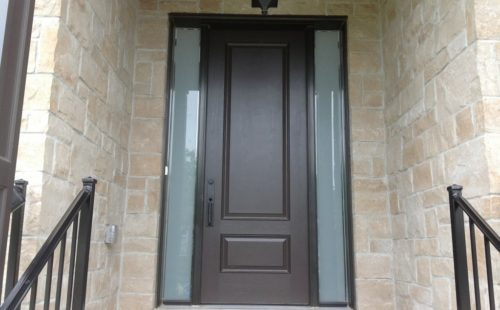 front door with two side panels