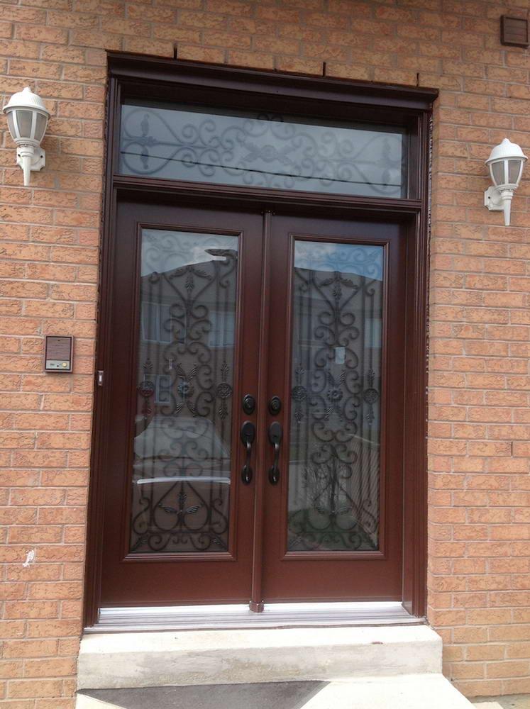 Brown oak wooden door