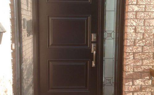 brown oak front door 2 side panels