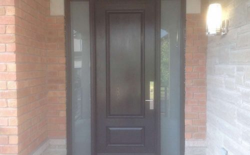 front entry door with full wood panel