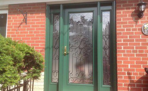 green front door glass panel
