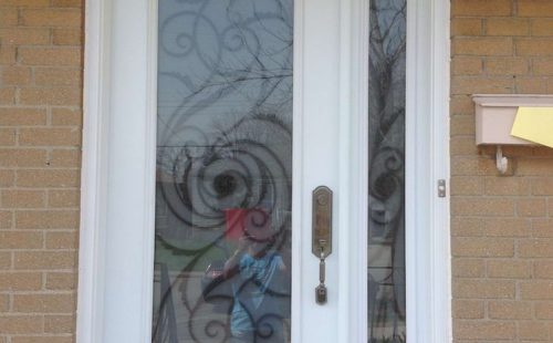 tinted glass entry door with side panel