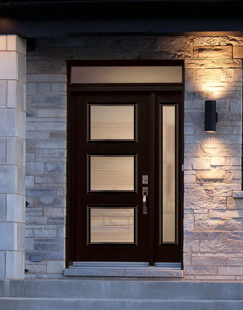 3 glass panels front door with sidelight