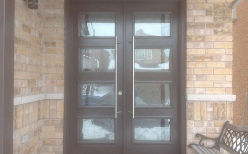 4 glass panels entry door
