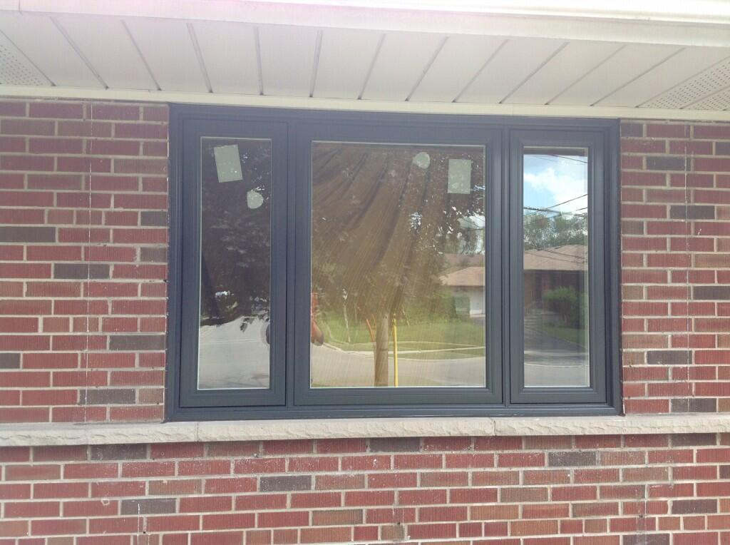 3 panel window painted black - windows and doors markham