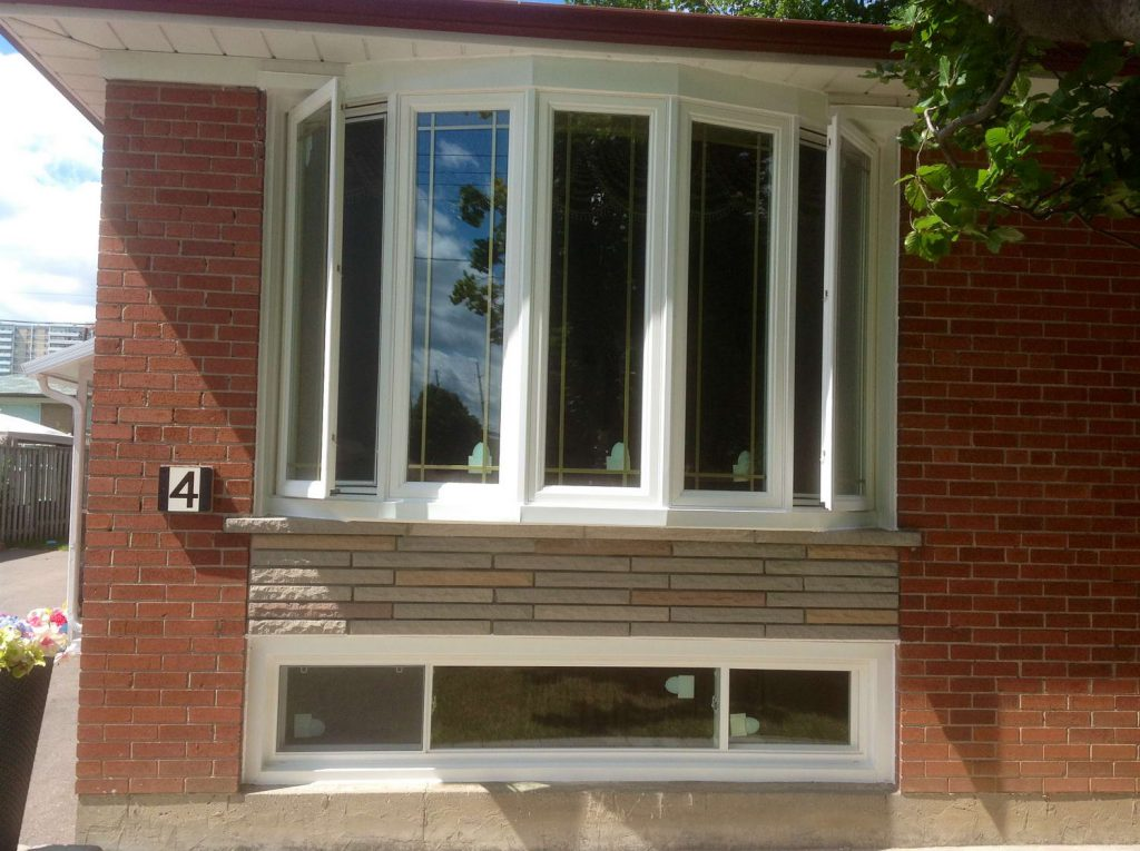 high end bow window and basement end vent slider window