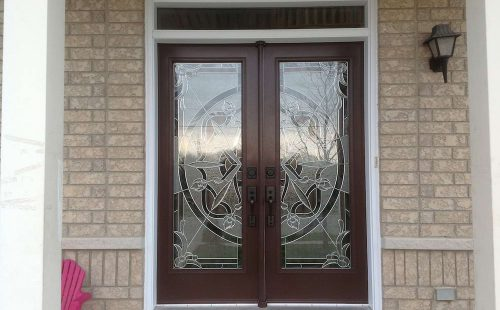 double entry door with glass panels