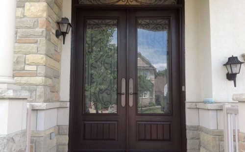 brown double front entrance door