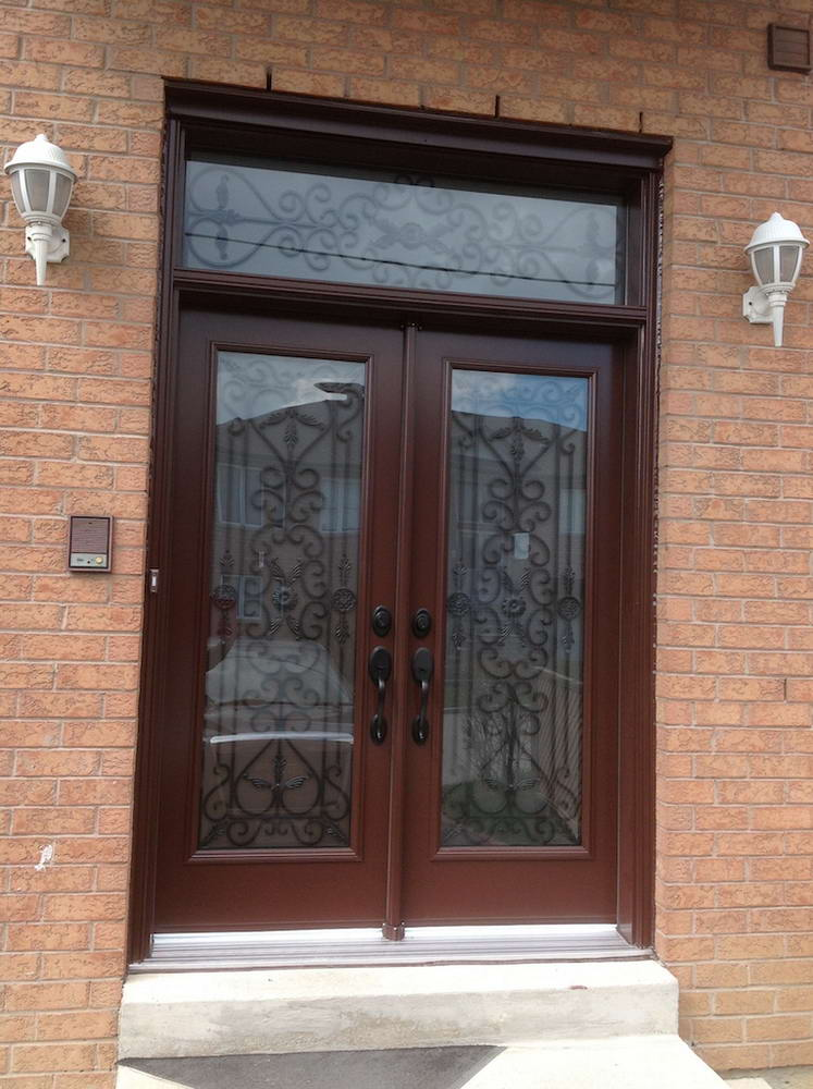 Brown oak wooden door