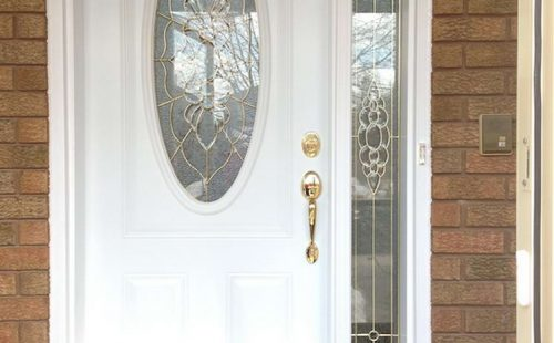 front entry door with rounded glass