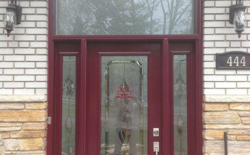 frosted glass entry door with side panels