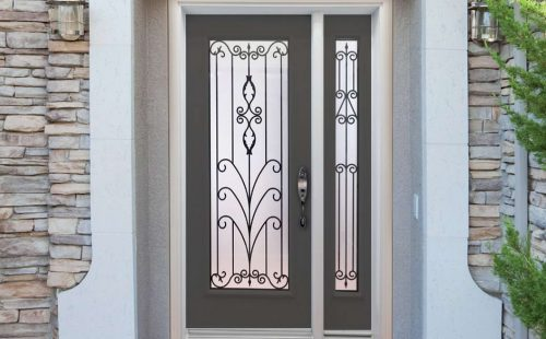 main door full glass with sidelight
