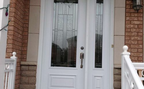 white glass door with side panel