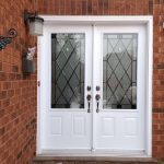double white door two panel half lite