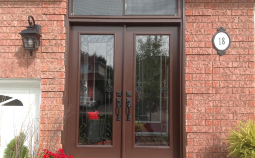 double door one glass panel
