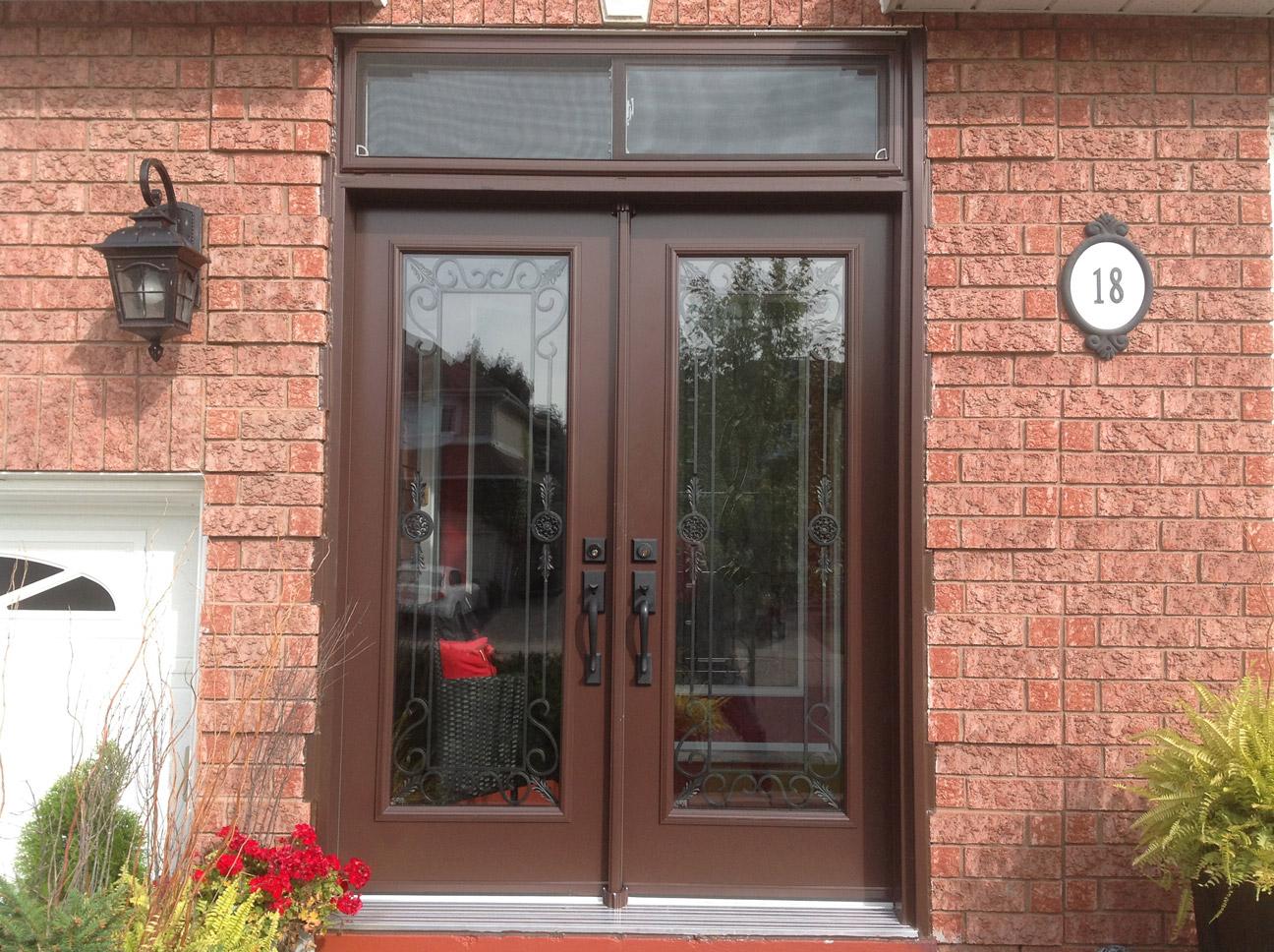 double door one glass panel